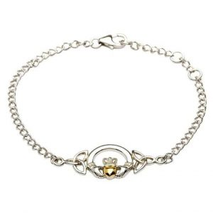 Silver Claddagh Bracelet with 14K Gold Plate Heart