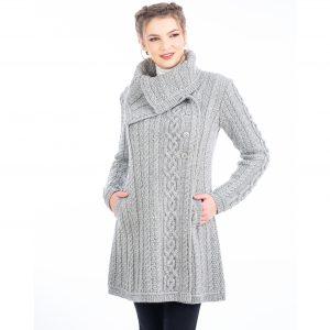 Soft Gray Aran Cable Coat