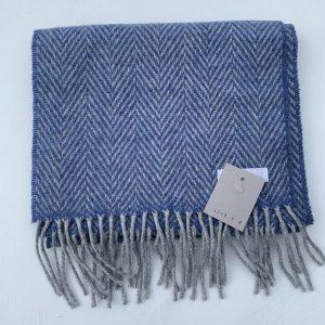 Foxford Blue Herringbone Cashmere Scarf