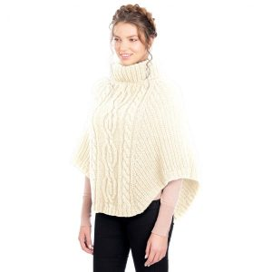 Cable Stitch Merino Wool Poncho