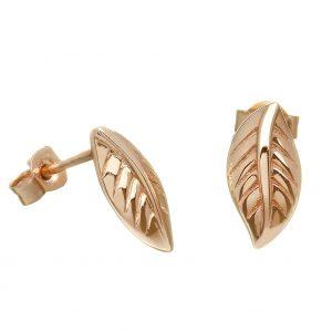 Irish Rose Gold Leaf Small Stud Earrings