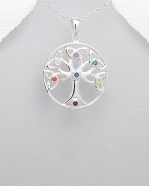 Sterling Silver Chakra Tree Of Life Pendant