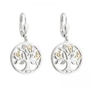 Solvar 10K Gold Diamond Silver Tree Of Life Earrings S33806