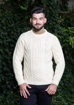 Mens Traditional Aran Crew Neck Sweater