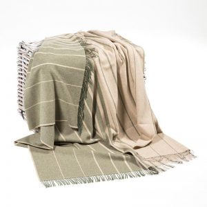 John Hanly Large Green Cream Merino Wool Blanket
