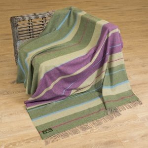 John Hanly Large Multi Colour Green Purple Stripe Merino Blanket