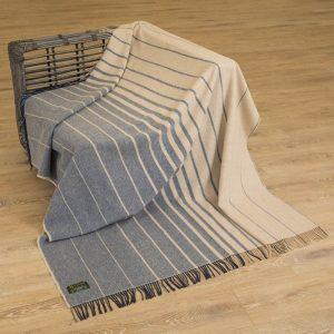 John Hanly Large Navy Camel Stripe Blanket