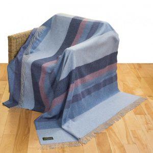 John Hanly Large Blue Merino Lambswool Blanket