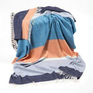 John Hanly Large Navy Orange Blanket
