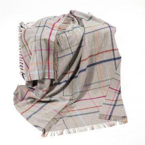 John Hanly Large Grey Multi Colour Window Pane Blanket
