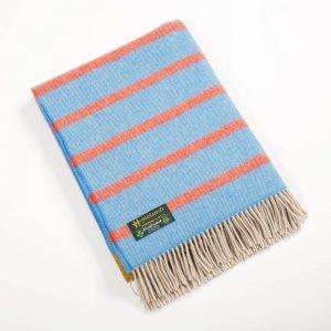John Hanly Large Blue Orange Stripe Blanket