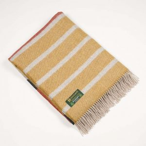 John Hanly Large Mustard Orange and Charcoal Stripe Blanket