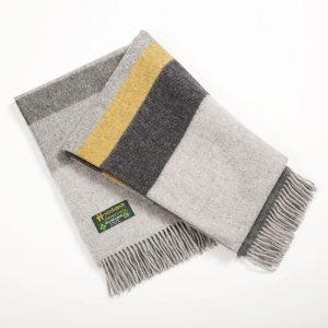 John Hanly Large Grey Mix Mustard Stripe Blanket