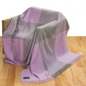 John Hanly Large Lavender Grey Block Check Blanket