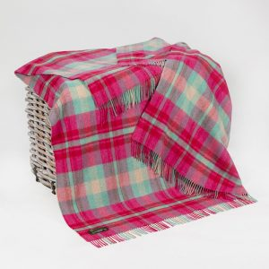 John Hanly Large Bright Pink Green & Cream Check Blanket
