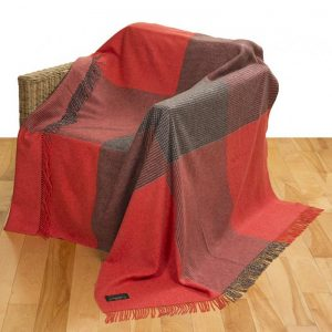 John Hanly Large Orange Gray Check Blanket