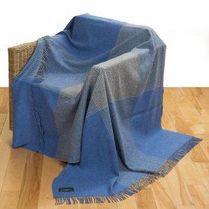John Hanly Large Denim Blue Grey Block Check Blanket