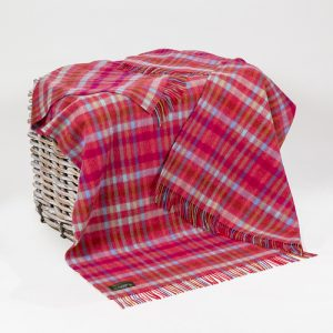 John Hanly Large Pink Mini Check Blanket
