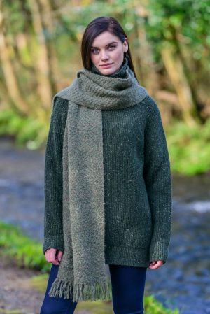 Mucros Green Alpaca Kells Irish Scarf