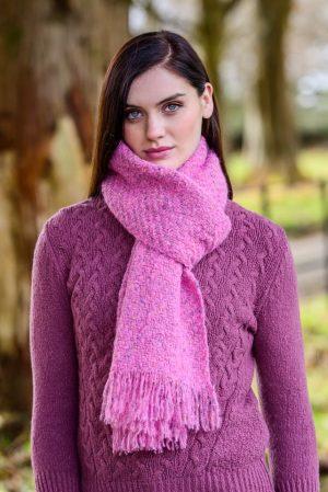 Mucros Pink Alpaca Kells Irish Scarf