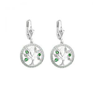 Solvar 14K White Gold Diamond & Emerald Tree Of Life Drop Earrings S34091