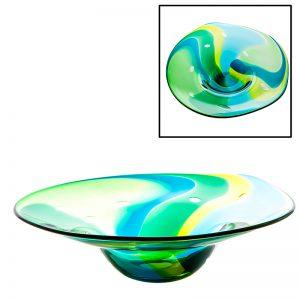 Handmade Irish Glass Emerald Centrepiece Bowl