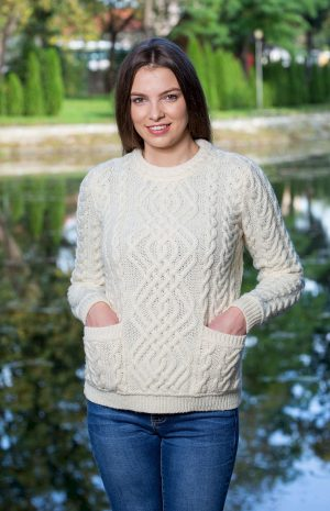 Aran Cable Knit Crew Neck Sweater
