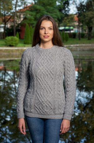 Aran Crew Neck Soft Gray Sweater
