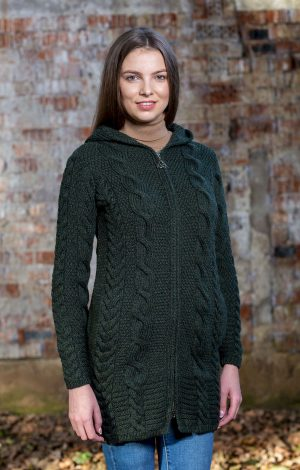 Aran Cable Knit Green Hooded Zip Cardigan