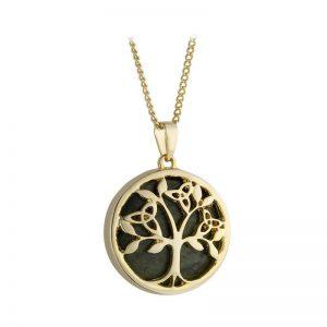 Solvar Gold Plated Connemara Marble Tree Of Life Pendant s46794