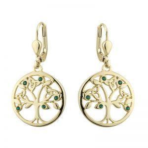 Solvar Gold Plated Crystal Tree Of Life Drop Earrings S33907G