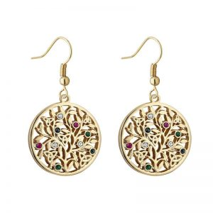 Solvar Gold Plated Crystal Tree Of Life Drop Earrings s34042g