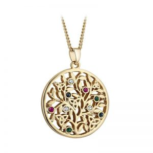 Solvar Gold Plated Crystal Tree Of Life Pendant s46652g