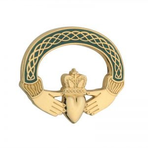 Solvar Gold Plated Green Claddagh Brooch TG1023GN