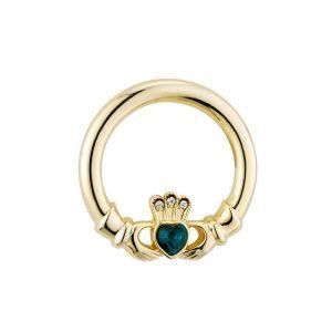 Solvar Gold Plated Green Crystal Heart Claddagh Brooch S1547