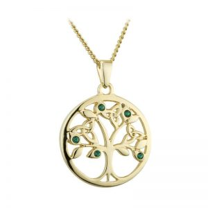 Solvar Gold Plated Green Crystal Tree Of Life Pendant S46353G