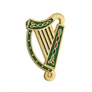 Solvar Gold Plated Green Harp Brooch TG1051GN