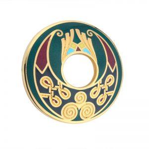 Solvar Gold Plated Green Open Spiral Knot Brooch TG1032GN