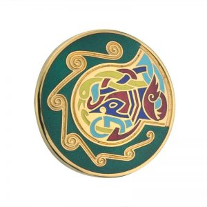 Solvar Gold Plated Green Small Round Brooch TG1001GN