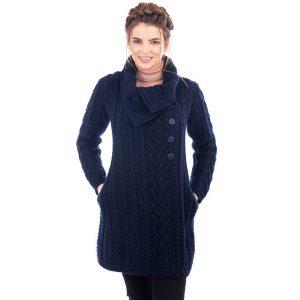 Merino Wool Navy Aran Cable Coat