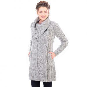 Merino Wool Soft Gray Aran Cable Coat
