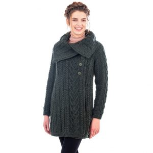 Merino Wool Green Aran Cable Coat
