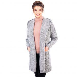 Ladies Classic Soft Gray Long Hooded Cardigan