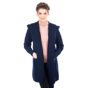 Ladies Classic Navy Long Hooded Cardigan