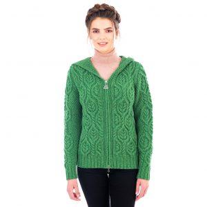 Ladies Double Collar Zipped Green Aran Cardigan
