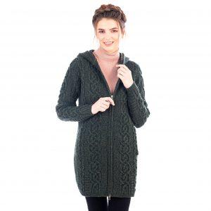 Ladies Celtic Green Aran Jacket