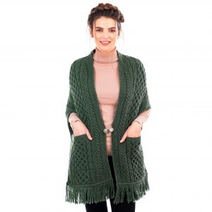 Ladies Army Green Aran Pocket Shawl