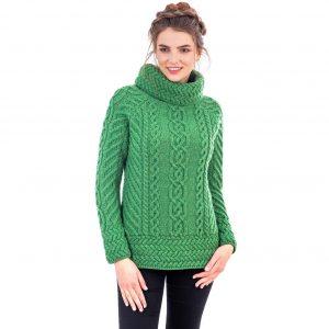 Ladies Green Cowl Neck Aran Sweater