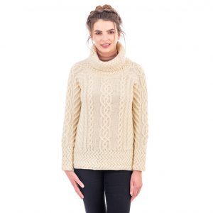 Ladies Cowl Neck Aran Sweater
