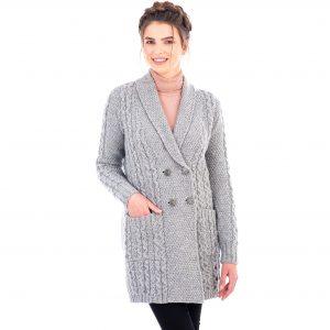 Ladies Double Breasted Gray Aran Coat
